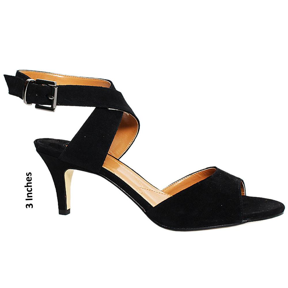Black Twister Suede Leather Heel