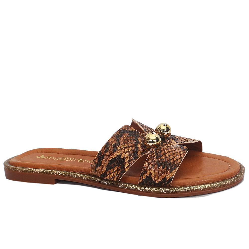 Brown Snake Skin Leather Flat Slippers