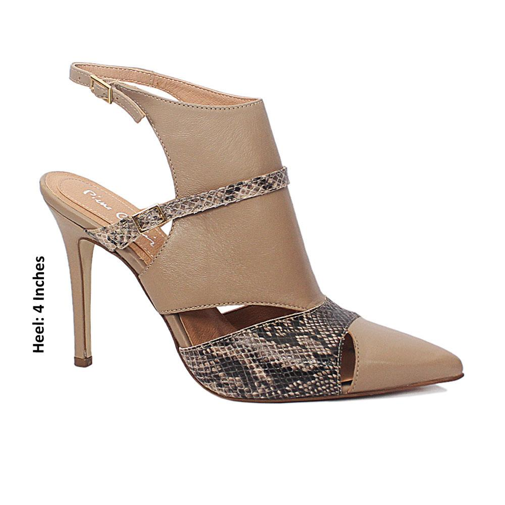 Khaki Bidgette Snake Style Leather Ankle Heels