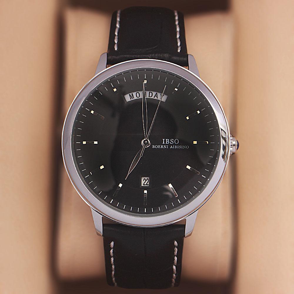 Safari Silver Black Croc Leather Watch