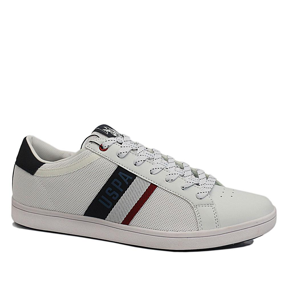 USSPA White Navy Icon Leather Breathable Sneakers