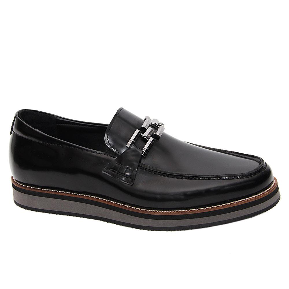 Black Valdes Italian Leather Pillow Sole Loafers