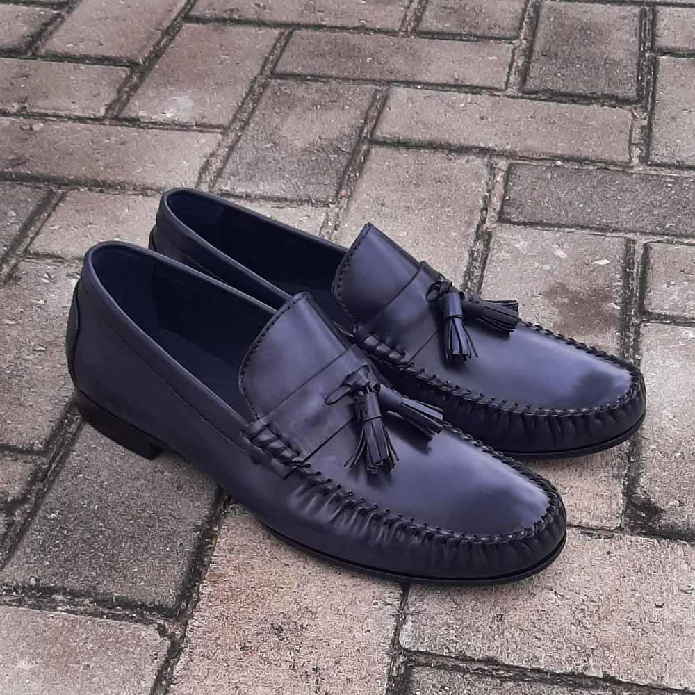 Dark Navy Alcobe Italian Leather Men Tassel Loafers