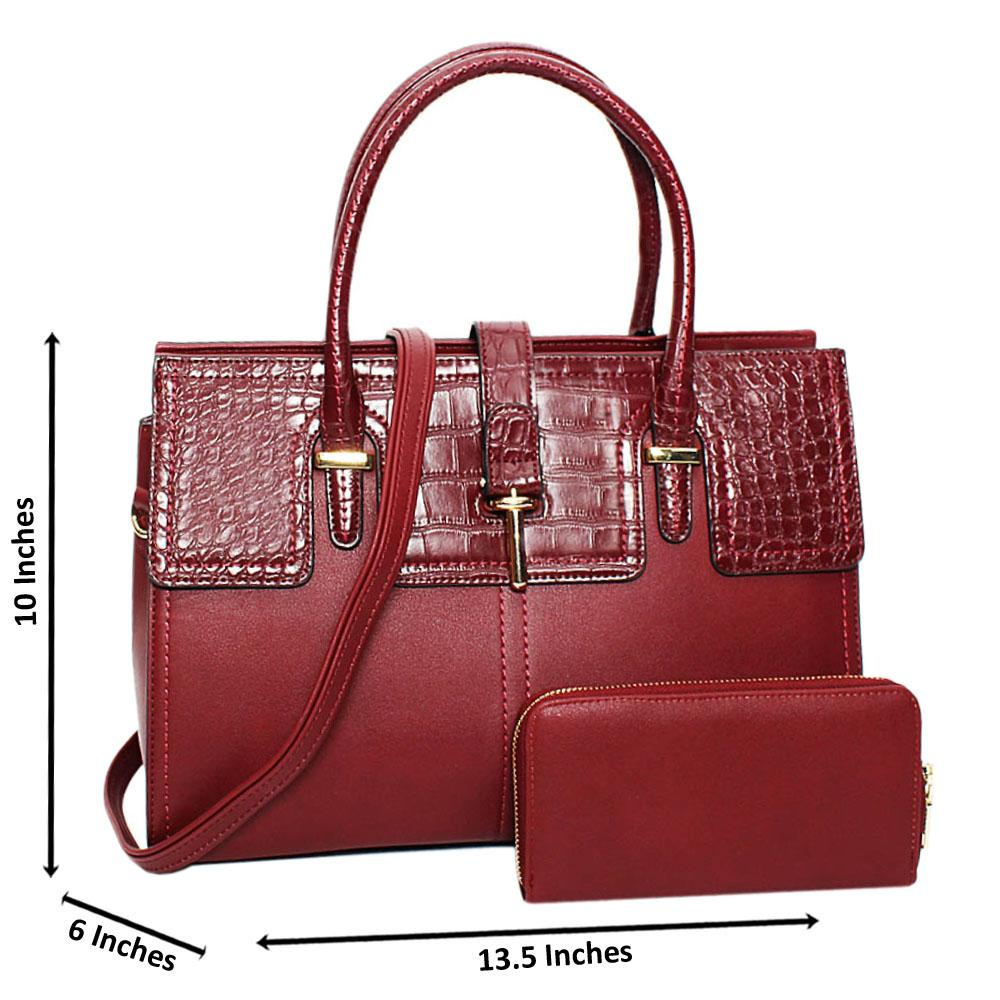 Burgundy Bianca Mix Croc Leather Large Tote Handbag