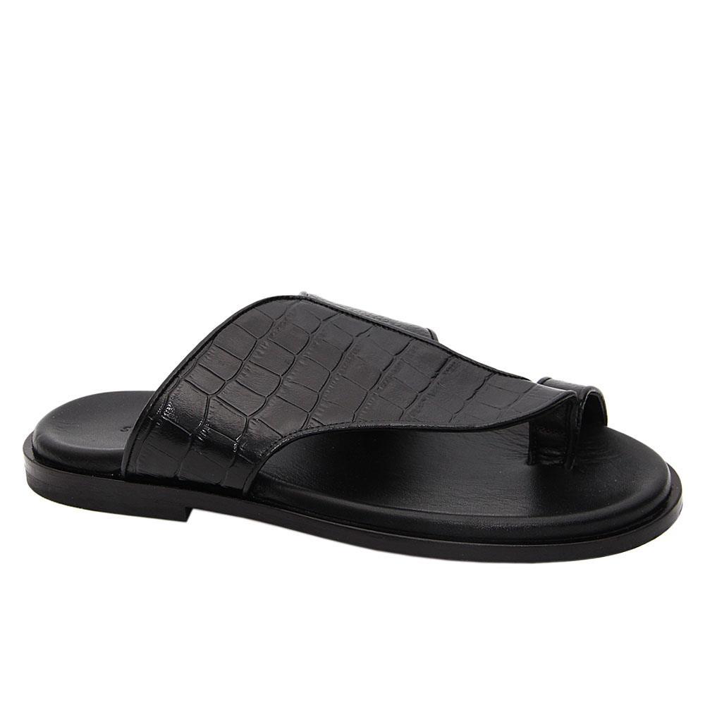Black Frediano Italian Leather Slippers