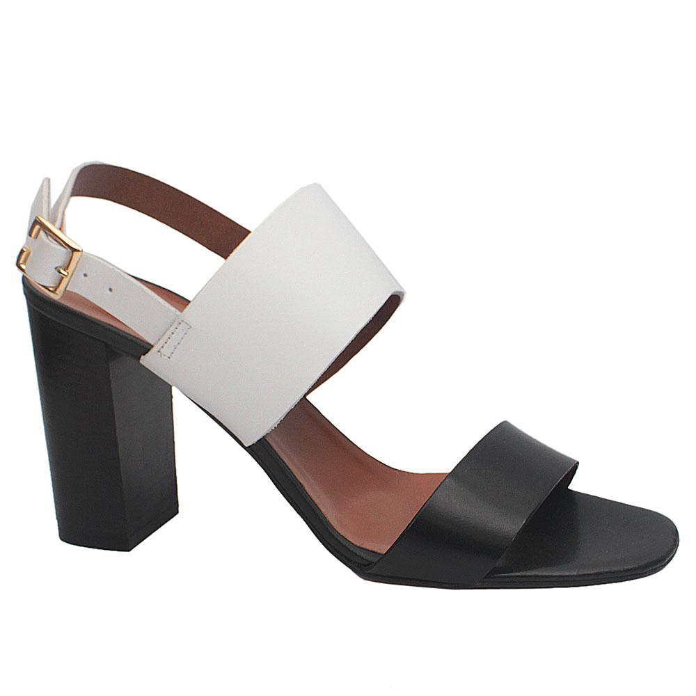 Manuela Black White Leather Block Heel Sandals