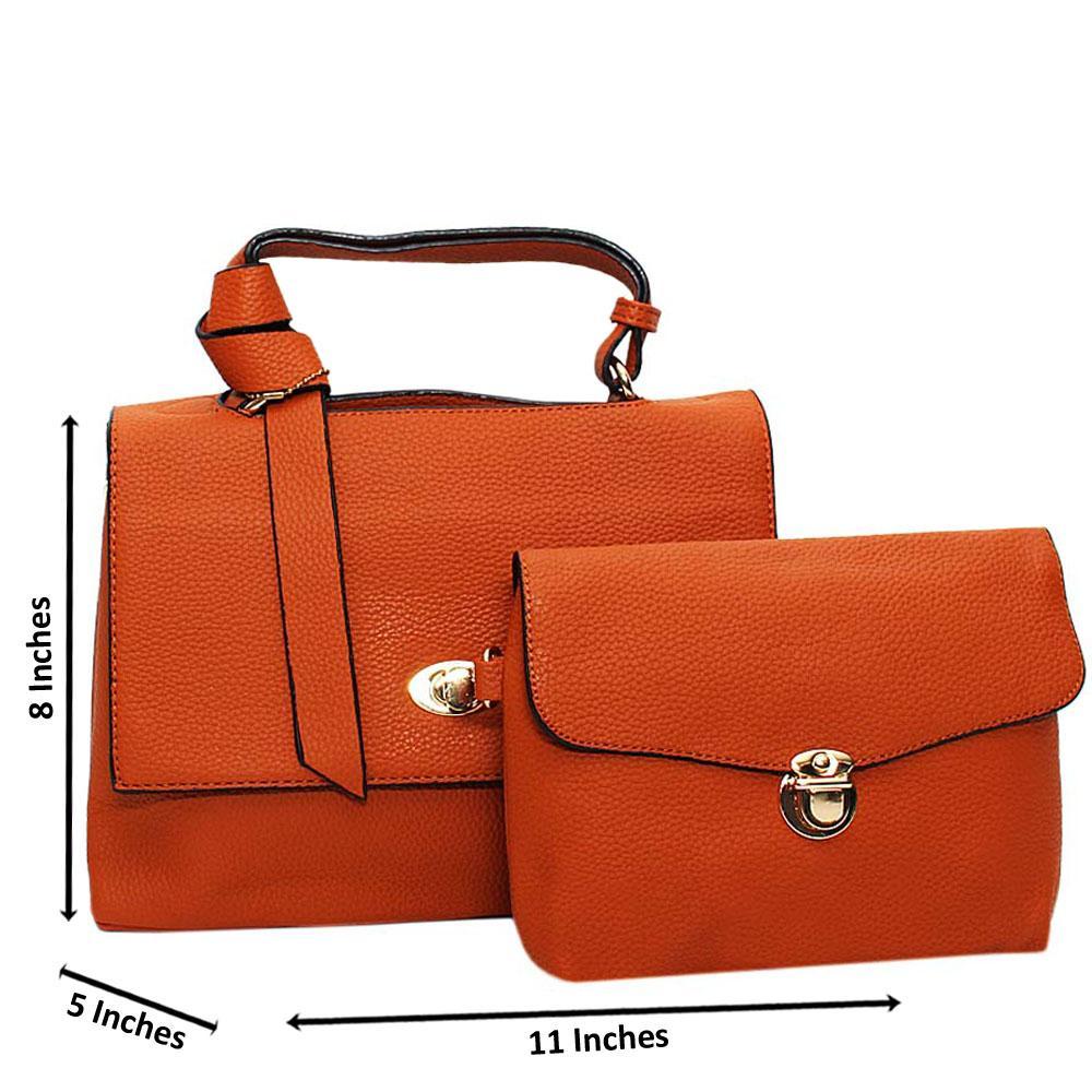 Brown Angelina Leather Medium Top Handle Handbag