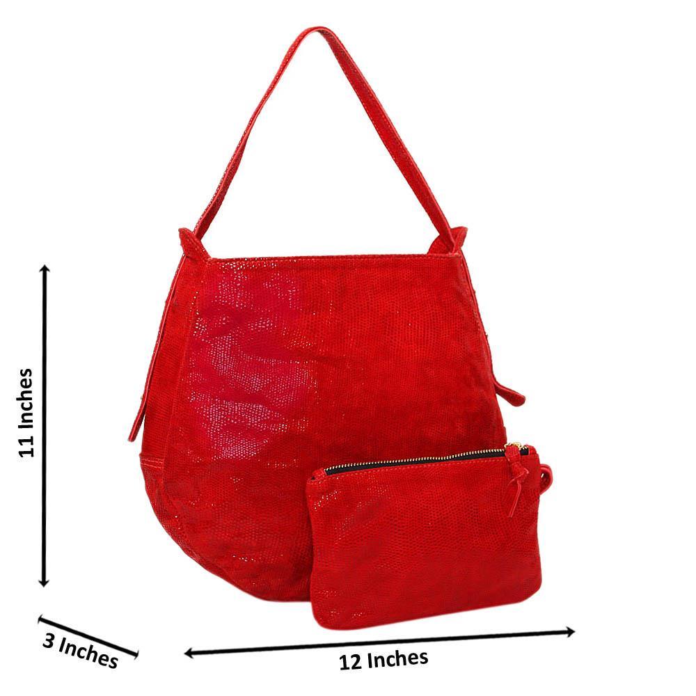 Red Casiana Cowhide Leather Medium Hobo Handbag