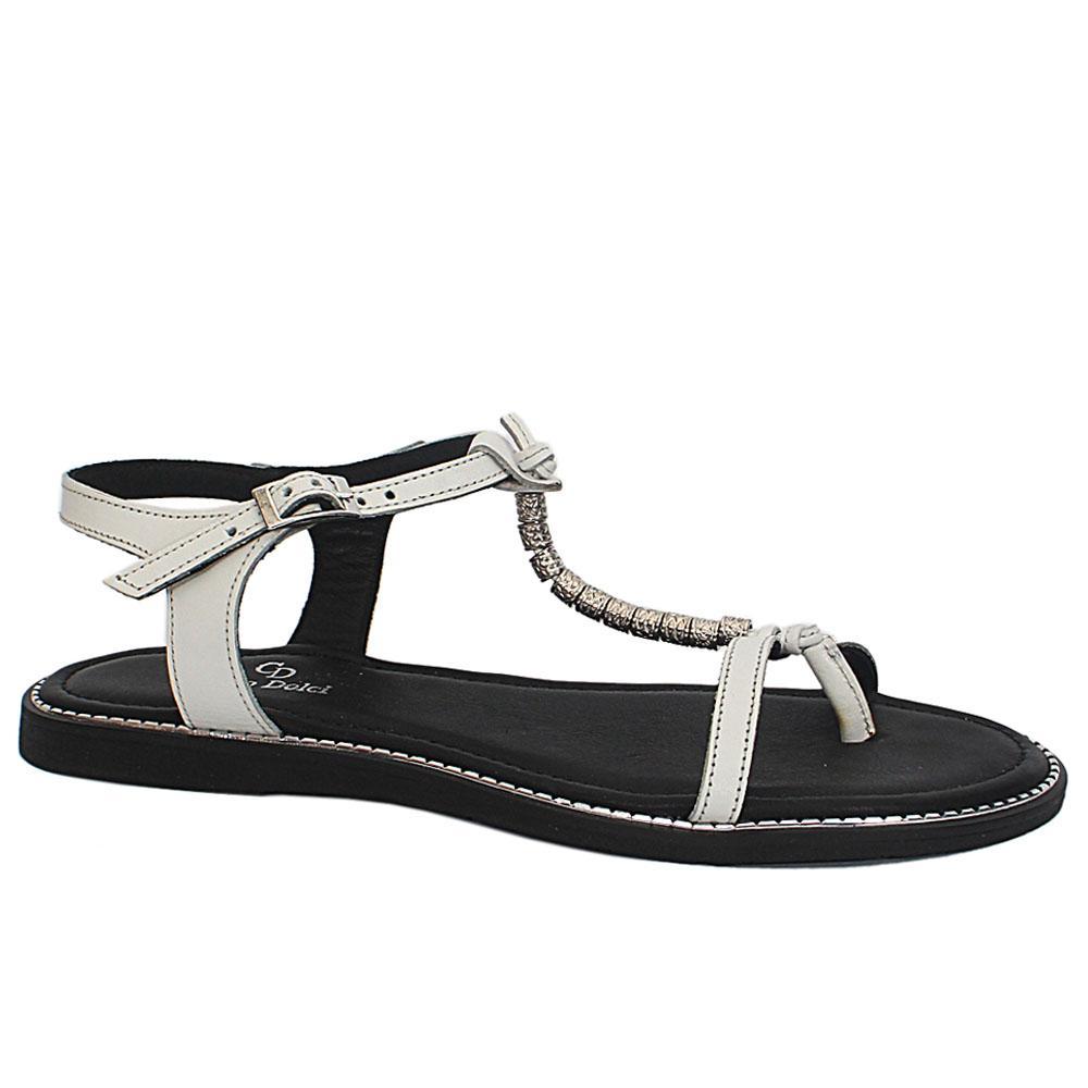 White Summer Troll Flat Sandals