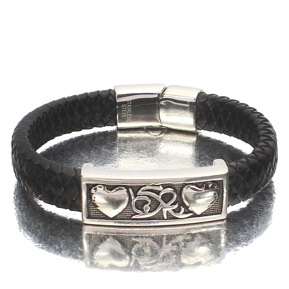 Silver Love Charm Black Woven Leather Bracelet
