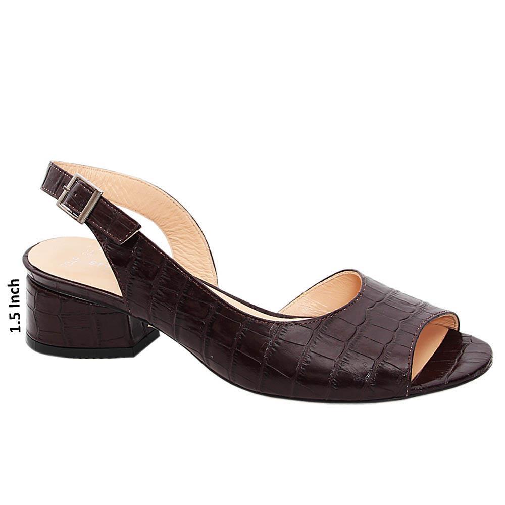 Coffee Amy Jossie Tuscany Leather Mid Heel Sandals