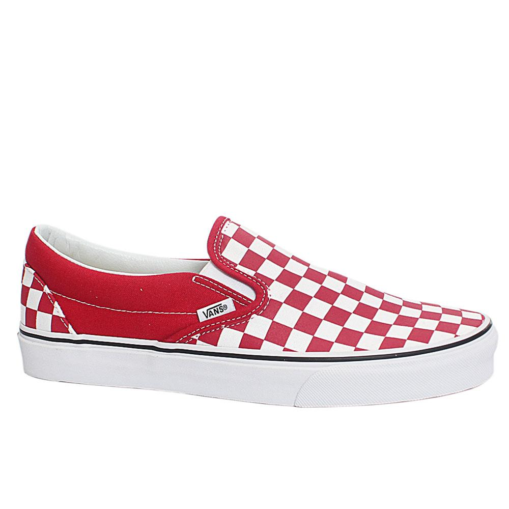 Red White Checkerboard Classic Slip On Sneakers