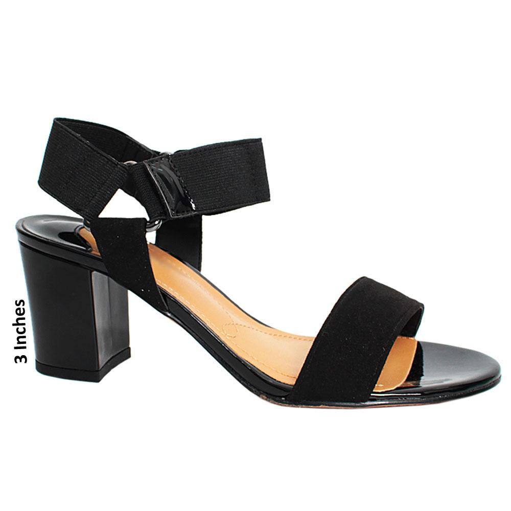Black Treasure Suede Leather Elastic Strap Heel