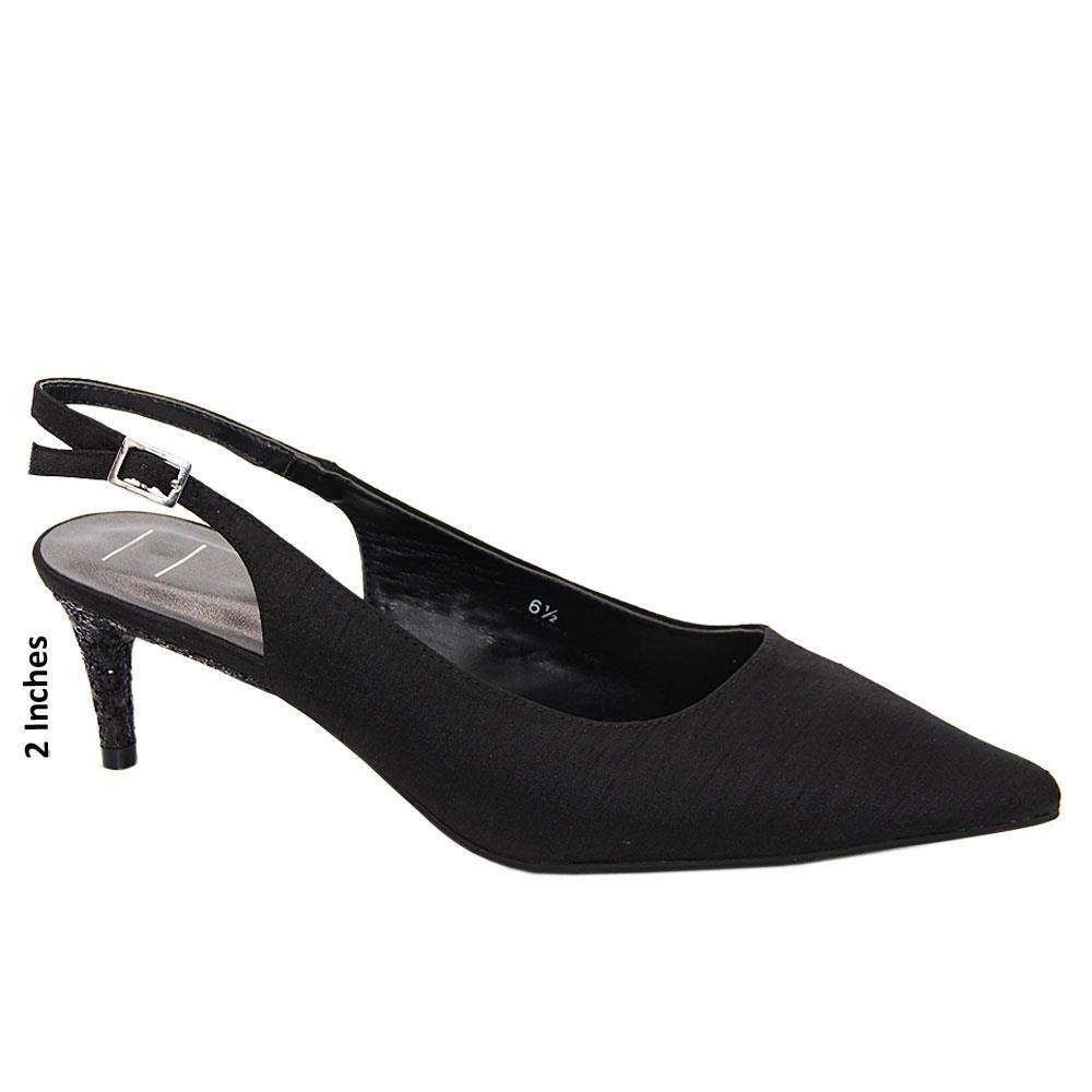 Black Fiona Satin Fabic Leather Low Heel Slingback Pumps