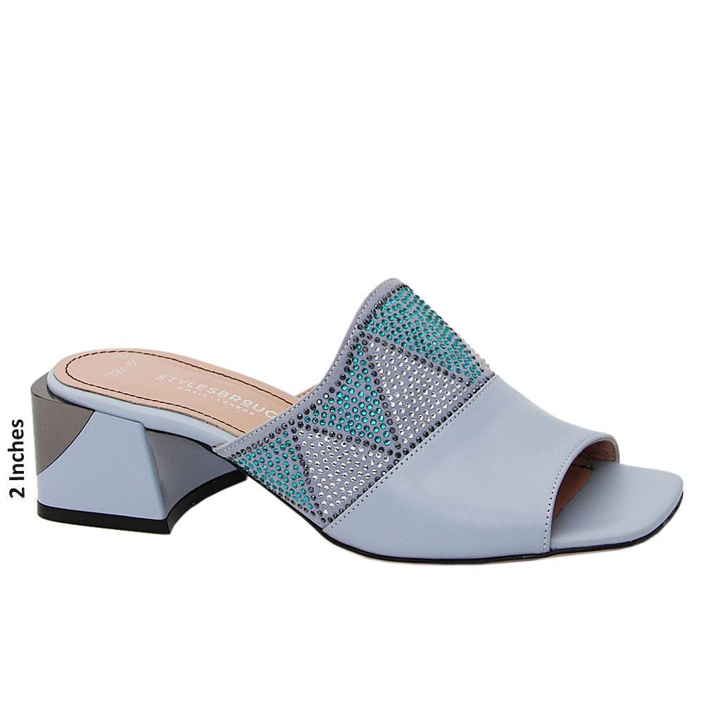 Aqua Blue Cadiana Studded Tuscany Leather Mid Heel Mule