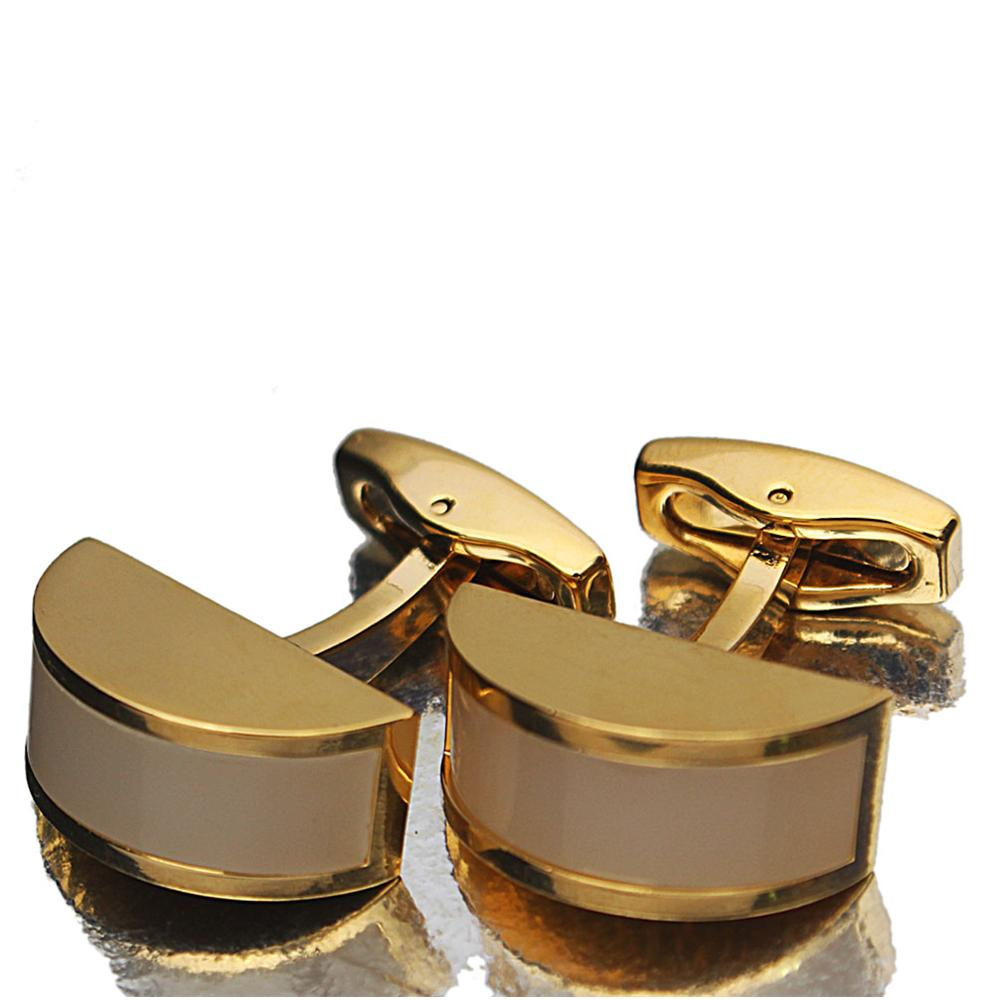 Gold White Pearl Stainless Steel Cufflinks