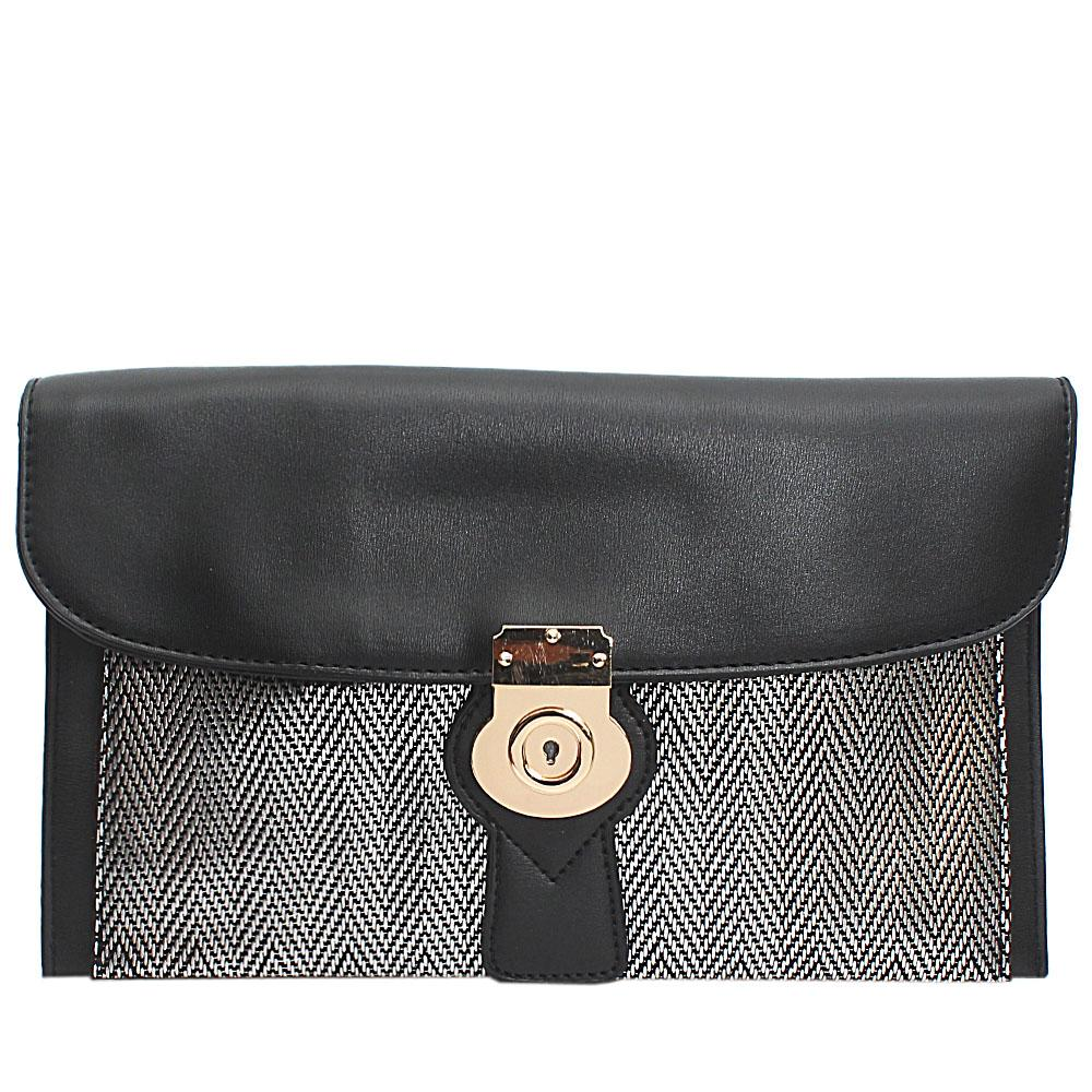 Black Silver Woven Miliano Style Leather Flat Purse