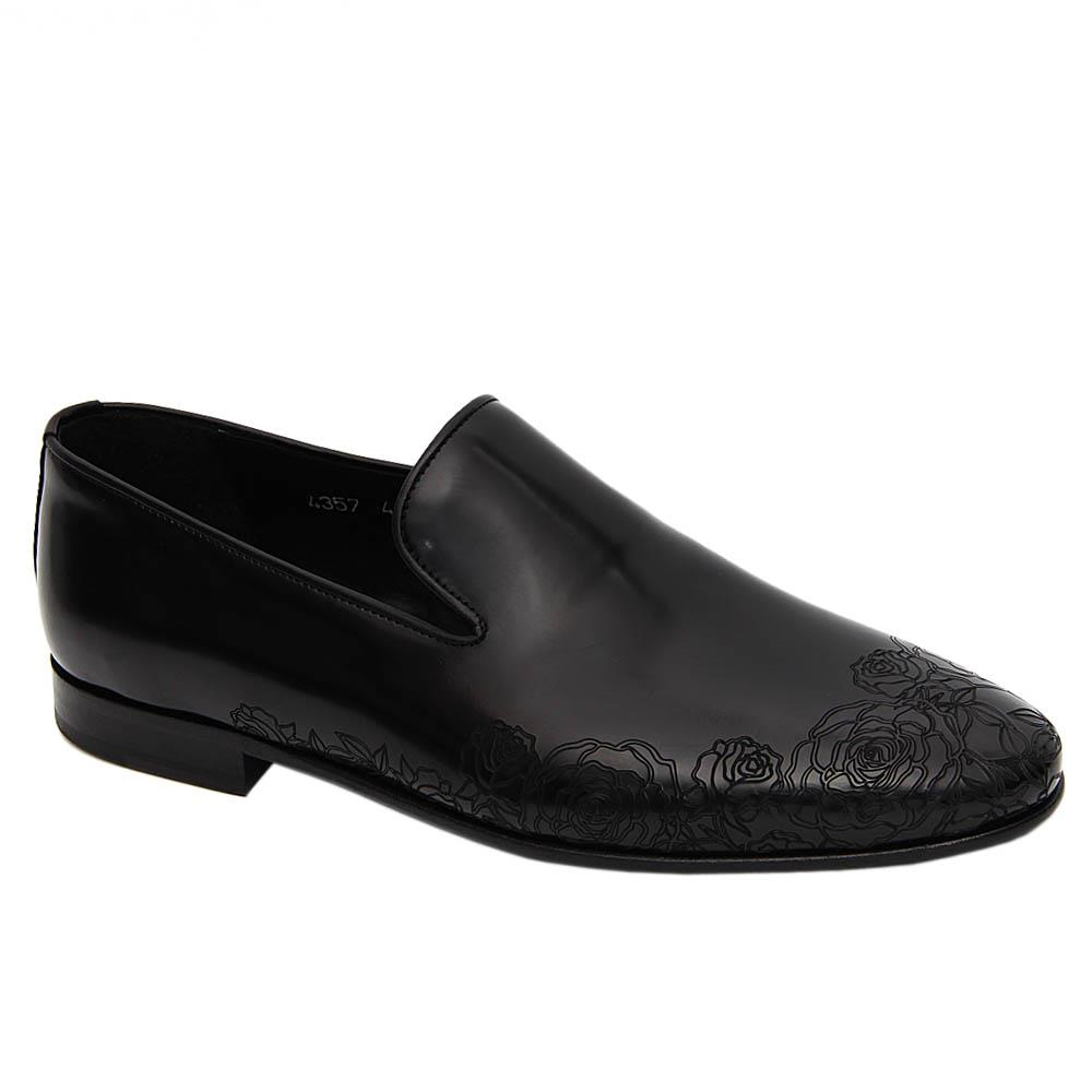 Black Mauricio Rose Patterned Italian Leather Loafers