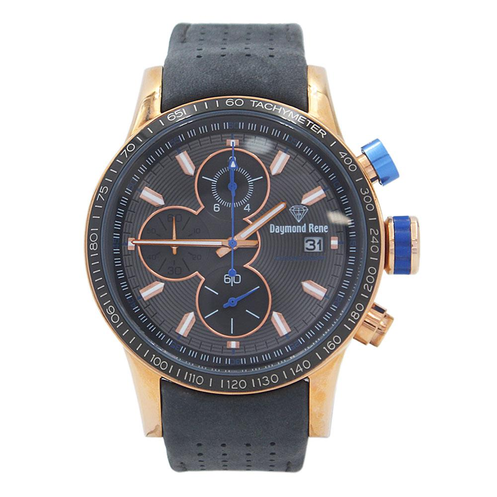 Gray Rose Gold Leather Chronograph Watch