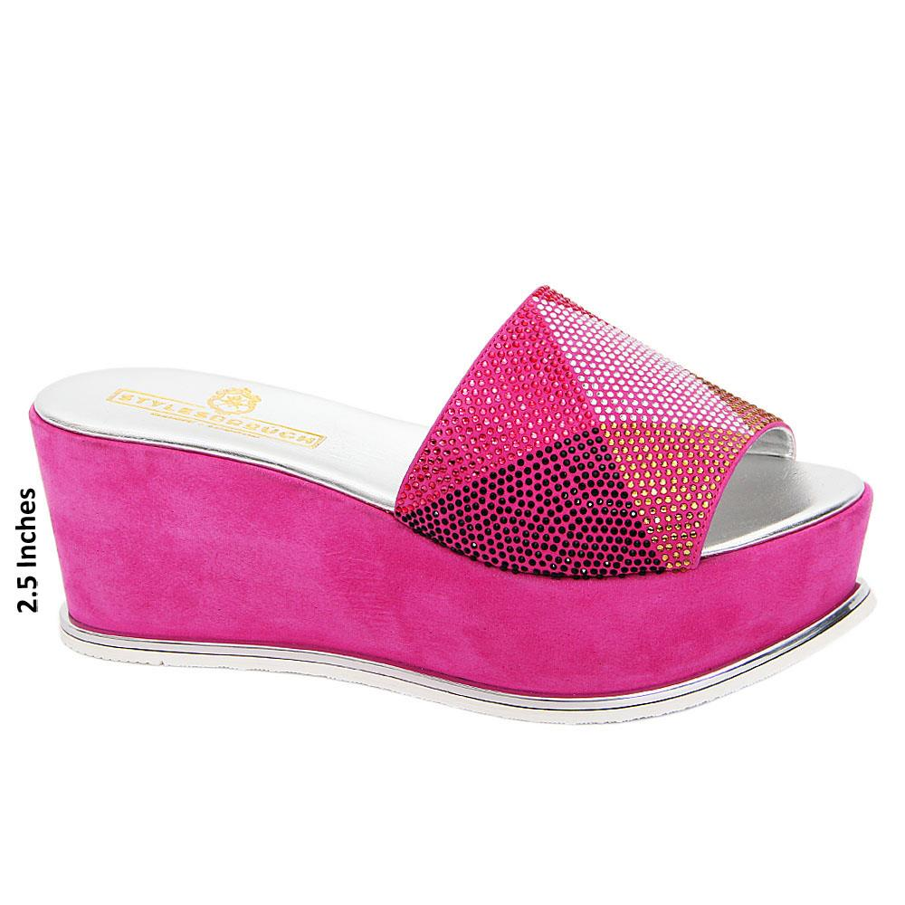 Pink Giovanna Studded Suede Leather Wedge