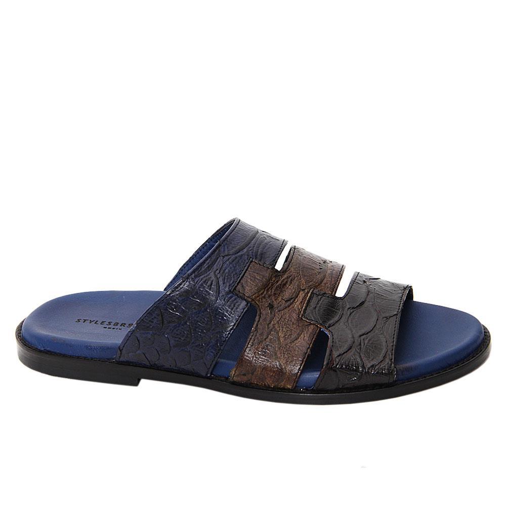 Navy Mix Iglesias Italian Leather Slippers