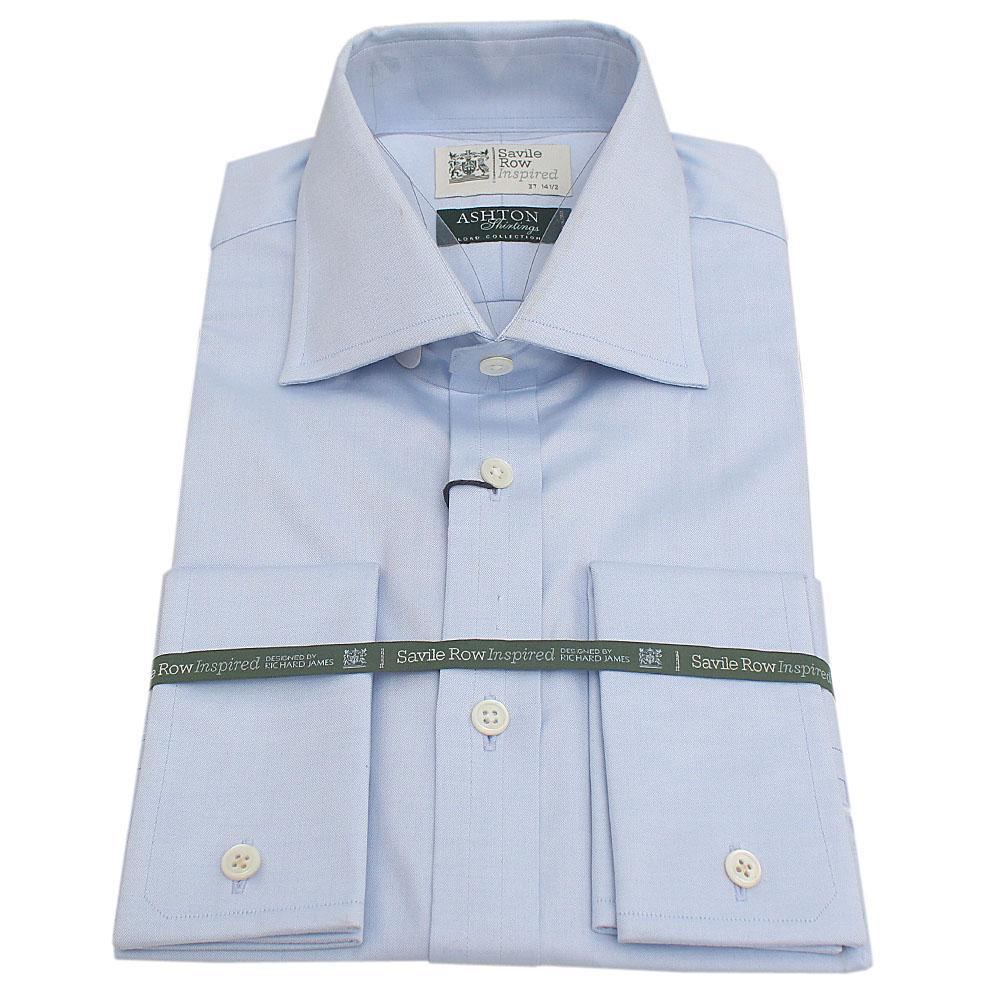 Savile Row Blue Aston Shirting L Sleeve Tailored Fit Men Shirt Sz 14.5