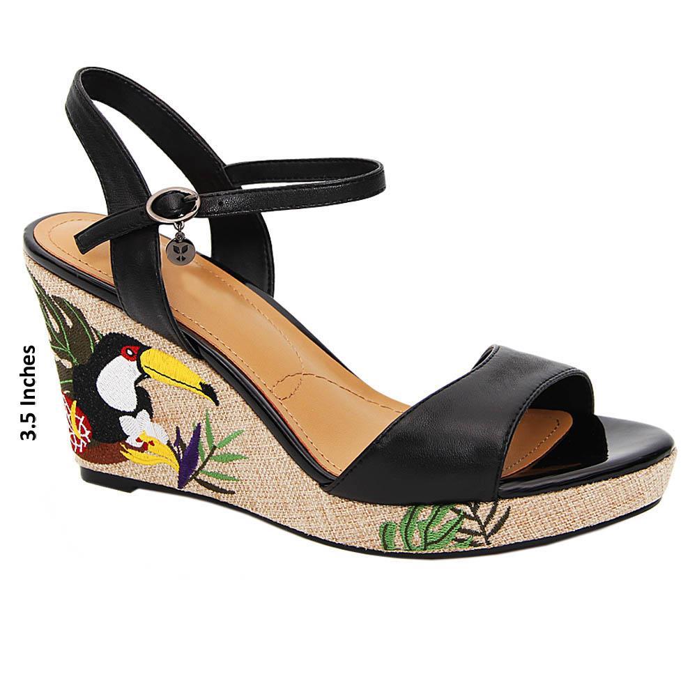 Black Presley Leather Wedge Sandals