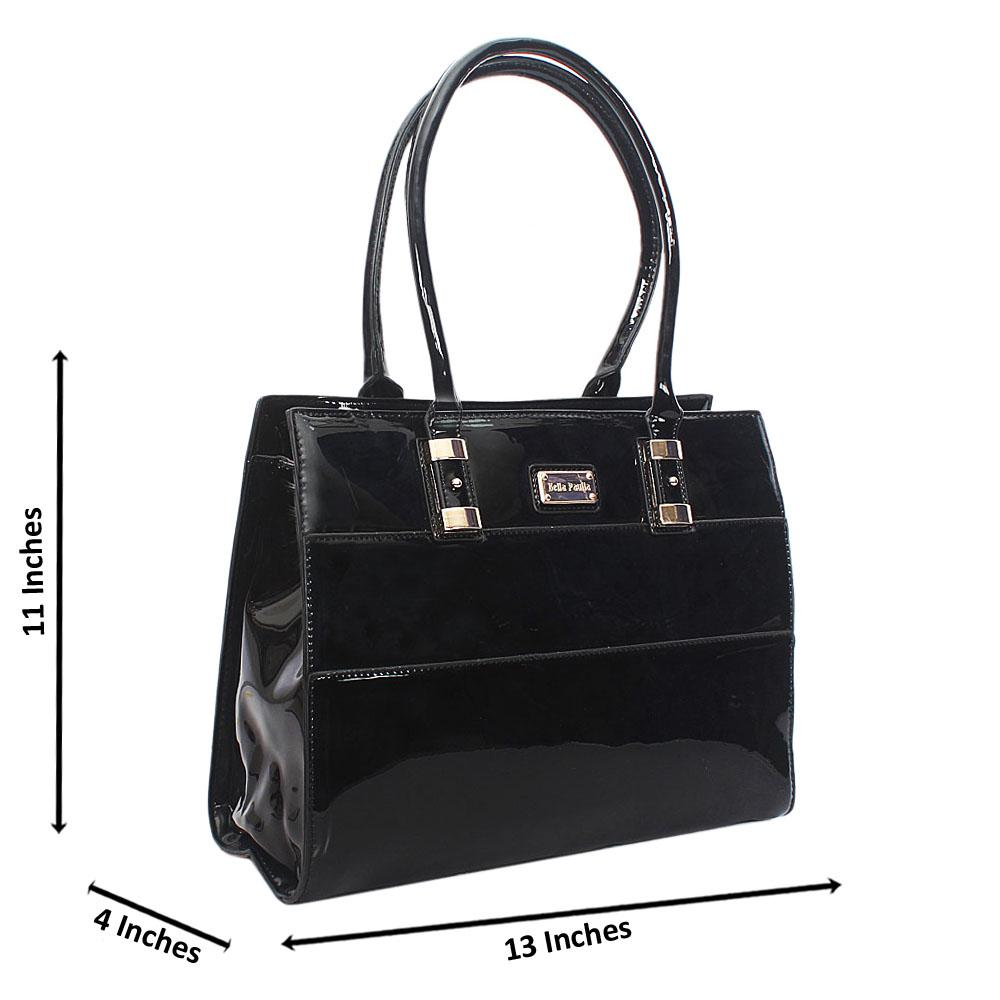 Black Bella Paulla Patent Leather Tote Handbag