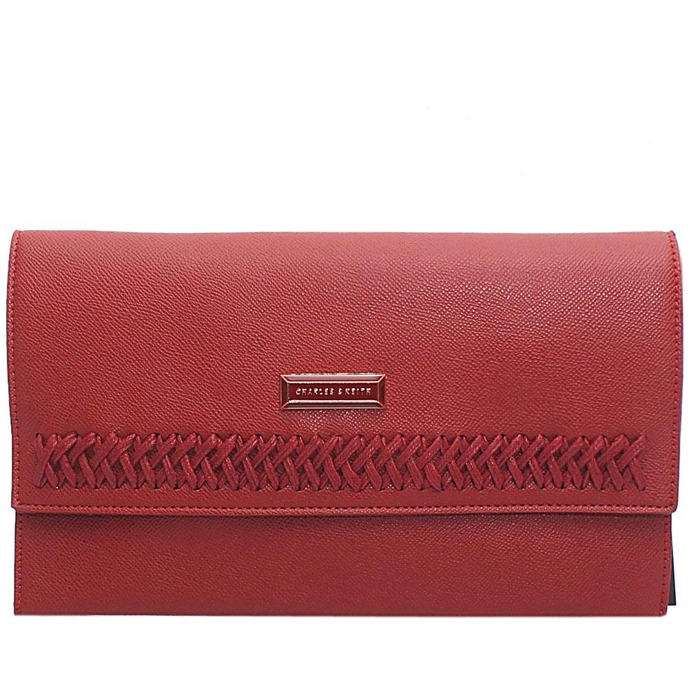 Wine Threaded Leather Flat Purse