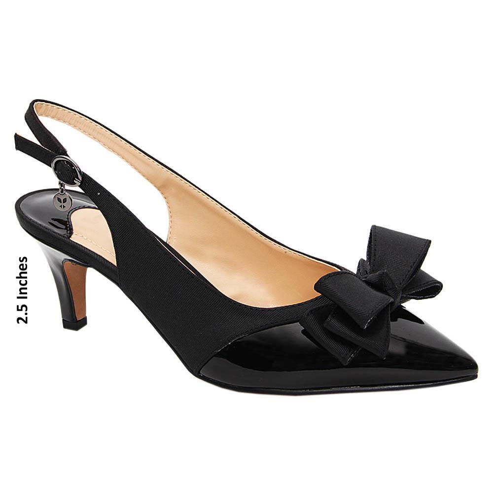 Black Jeda Fabric Leather Mid Heel Slingback Pumps
