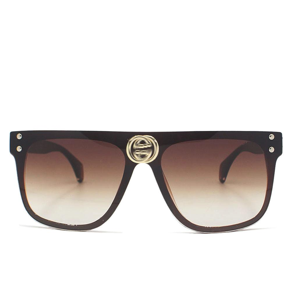 Brown Over Size Shield Wide Fit Sunglasses