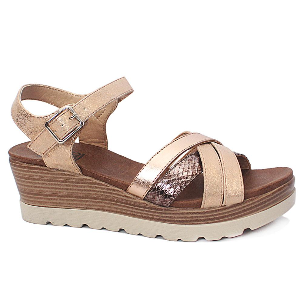 Xti Beige Briony Leather Wedge Sandals