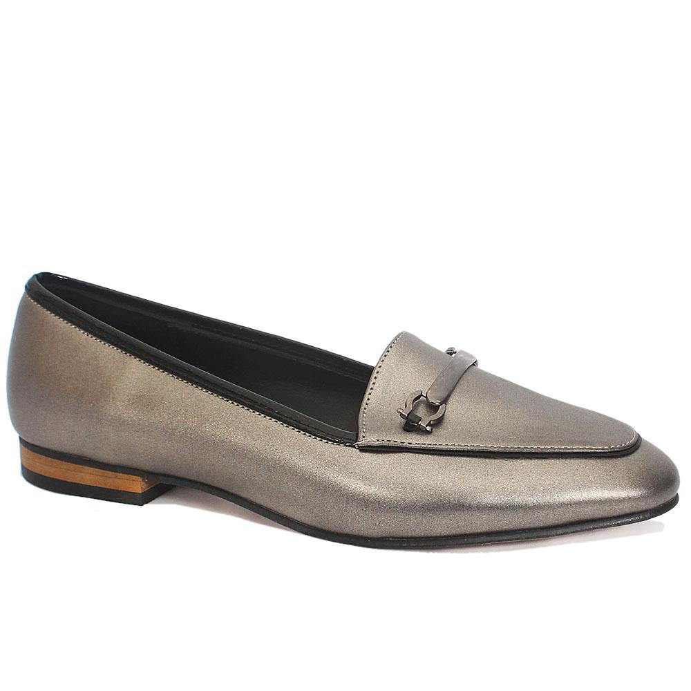 Gray Leather Ladies Flat Shoes