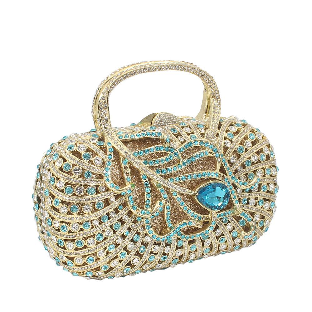 Gold Green Mix Diamante Crystal Top Handle Clutch Purse
