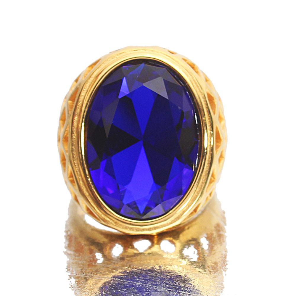 Gold Steel Blue Stone Classic Ladies Ring Sz XL