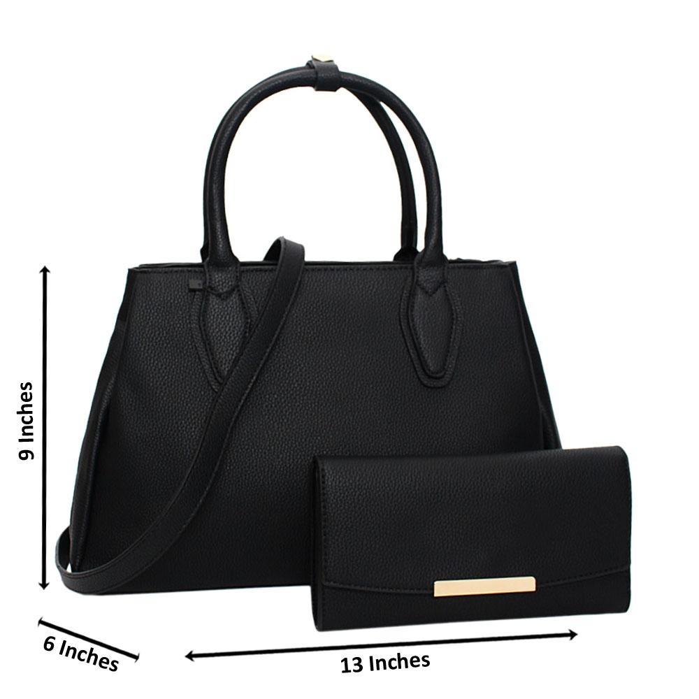 Black Tessa Leather Medium Tote Handbag