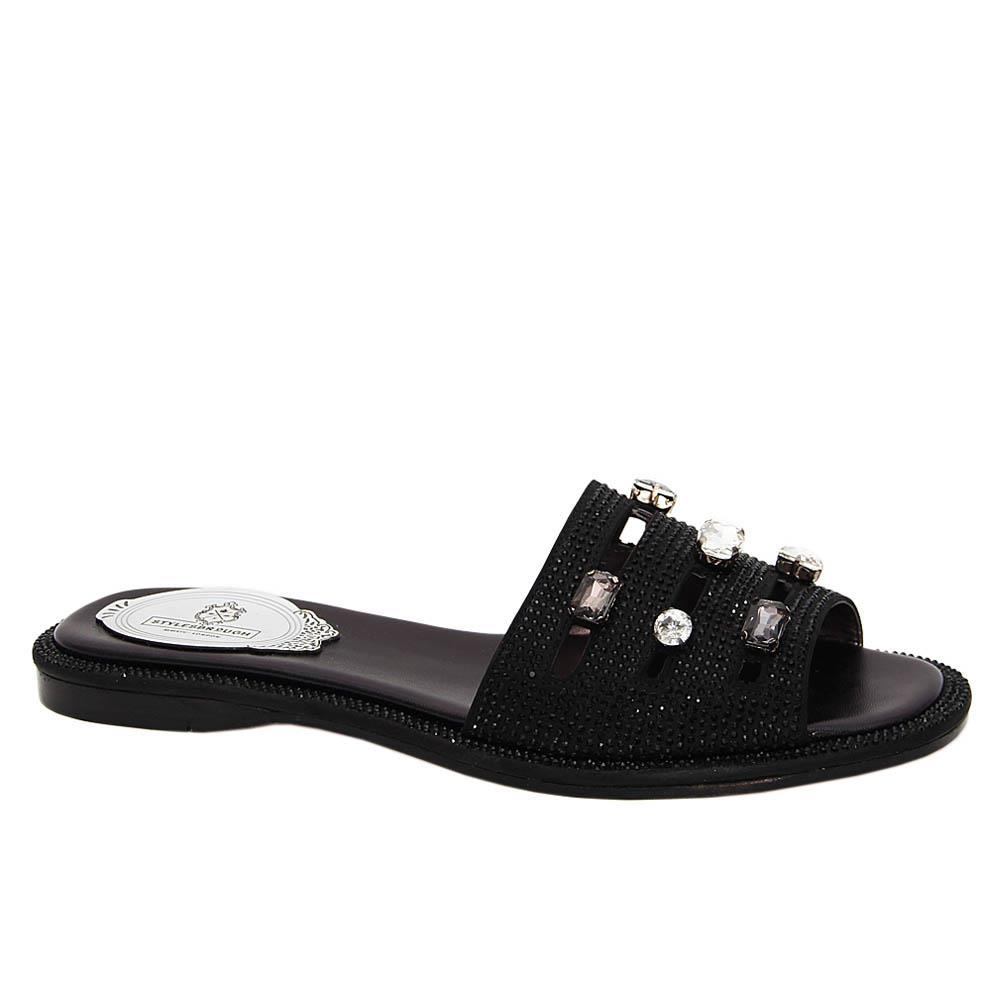 Black Addison Studded Italian Leather Women Flat Slippers