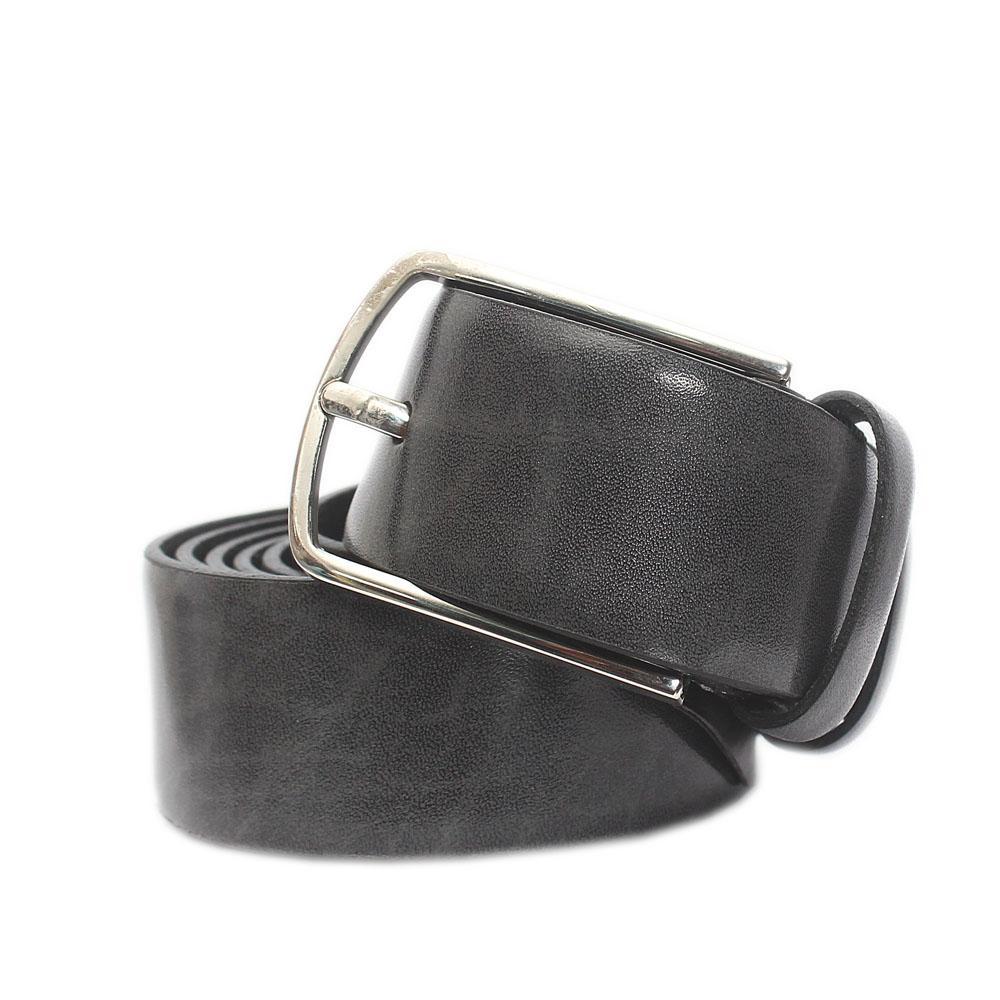 Nurbuck Gray Italian Leather Flat Belt L 52 Inches