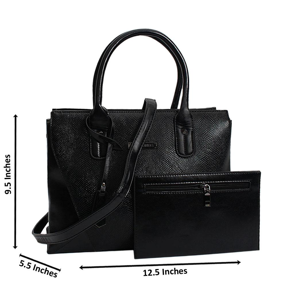 Black-Donna-Mix-Snake-Leather-Medium-Tote-Handbag