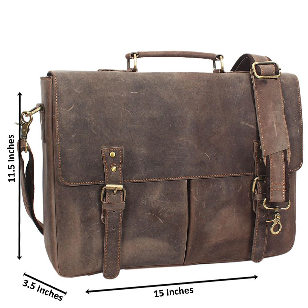 Brown Distressed Leather Briefcase