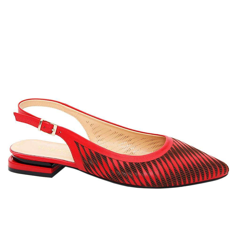 Red Josefina Tuscany Leather Low Heel Slingback Pumps