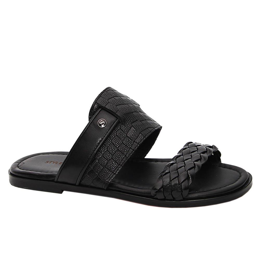 Black Canto Italian Leather Slippers