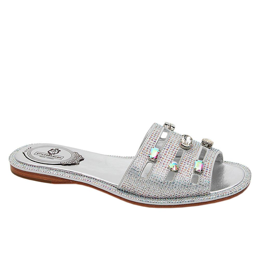 Silver Addison Studded Italian Leather Flat Slippers