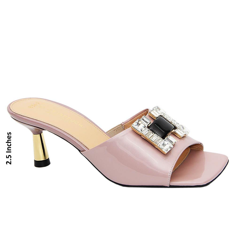 Baby Pink Crystals Patent Tuscany Leather Mid Heel Mule