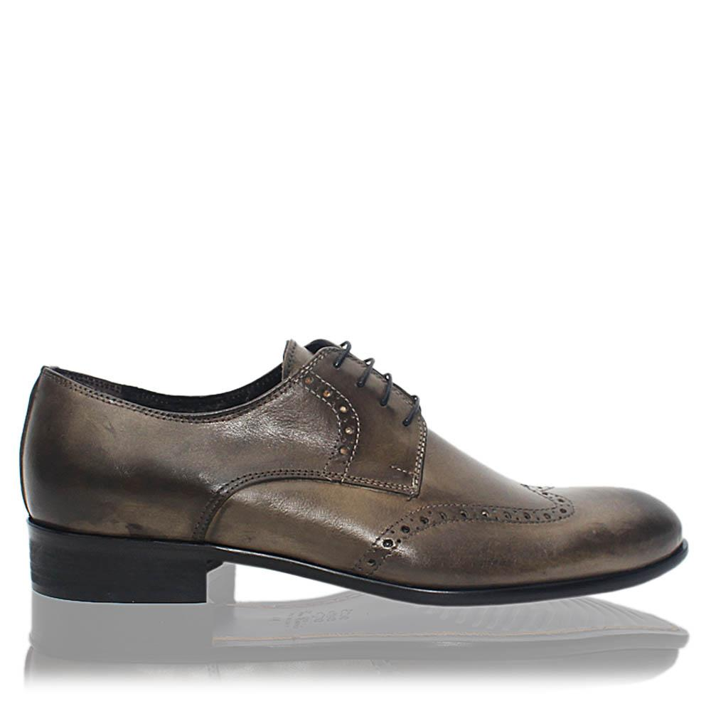 Blackish Gray Grigio Italia Leather Men Derby Shoes