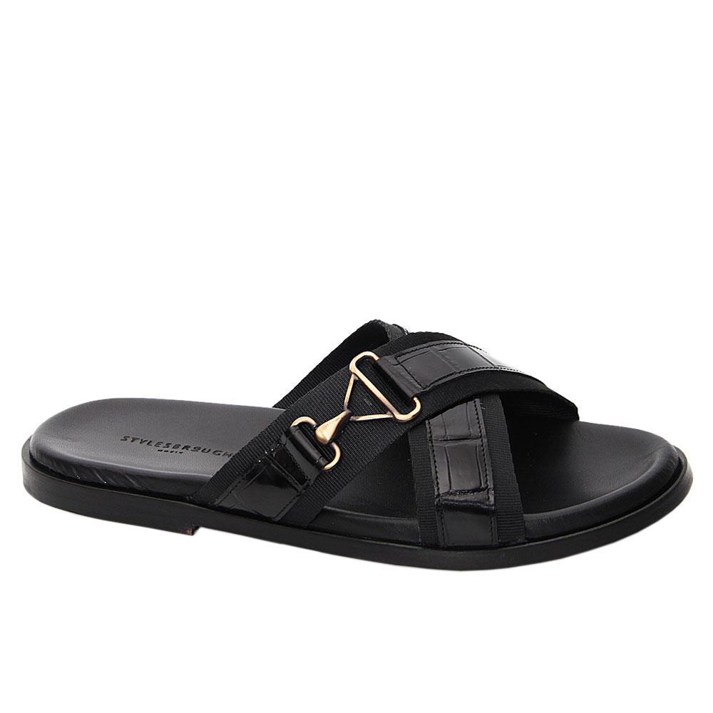 Black Santiago Mix Fabric Italian Leather Slippers