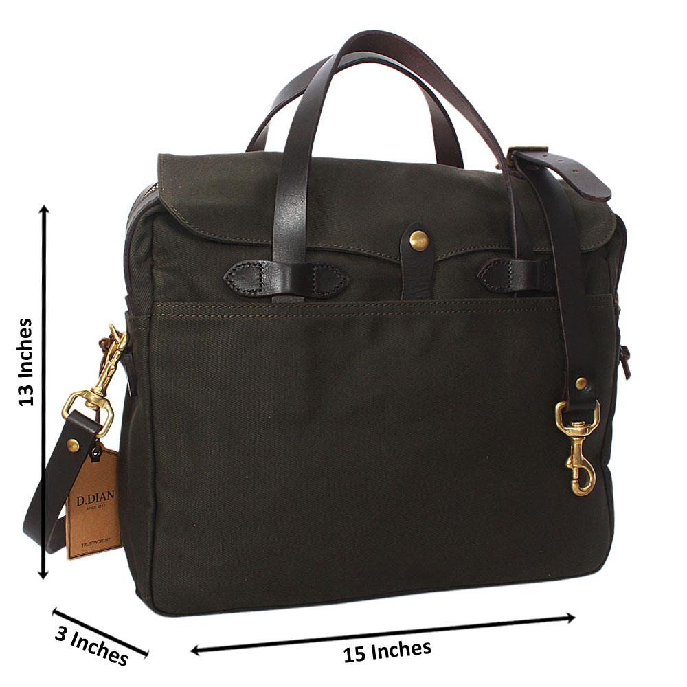 Green Water Proof Khaki Leather Mix Briefcase