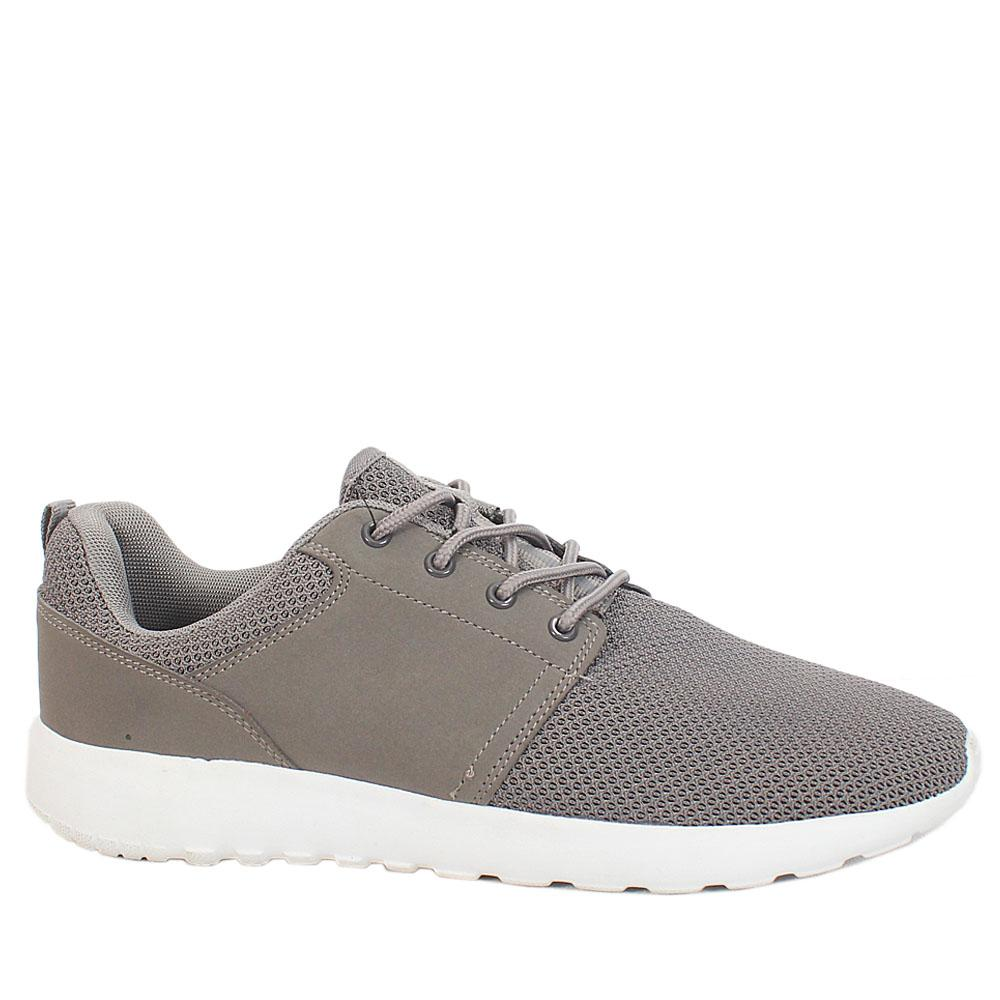 M & S Gray Fabric Leather men Sports Active Sneakers Sz 44.5