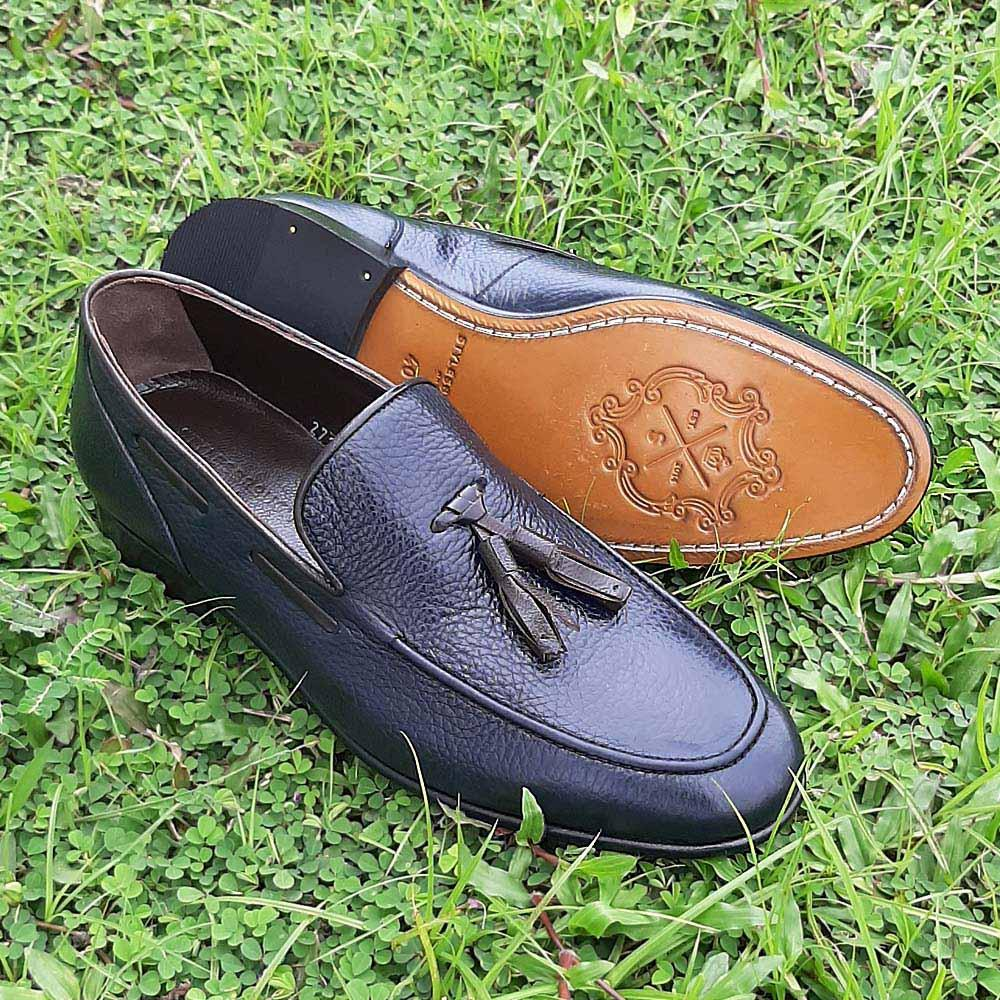 Dark Navy Francesco Italian Leather Men Tassel Loafers