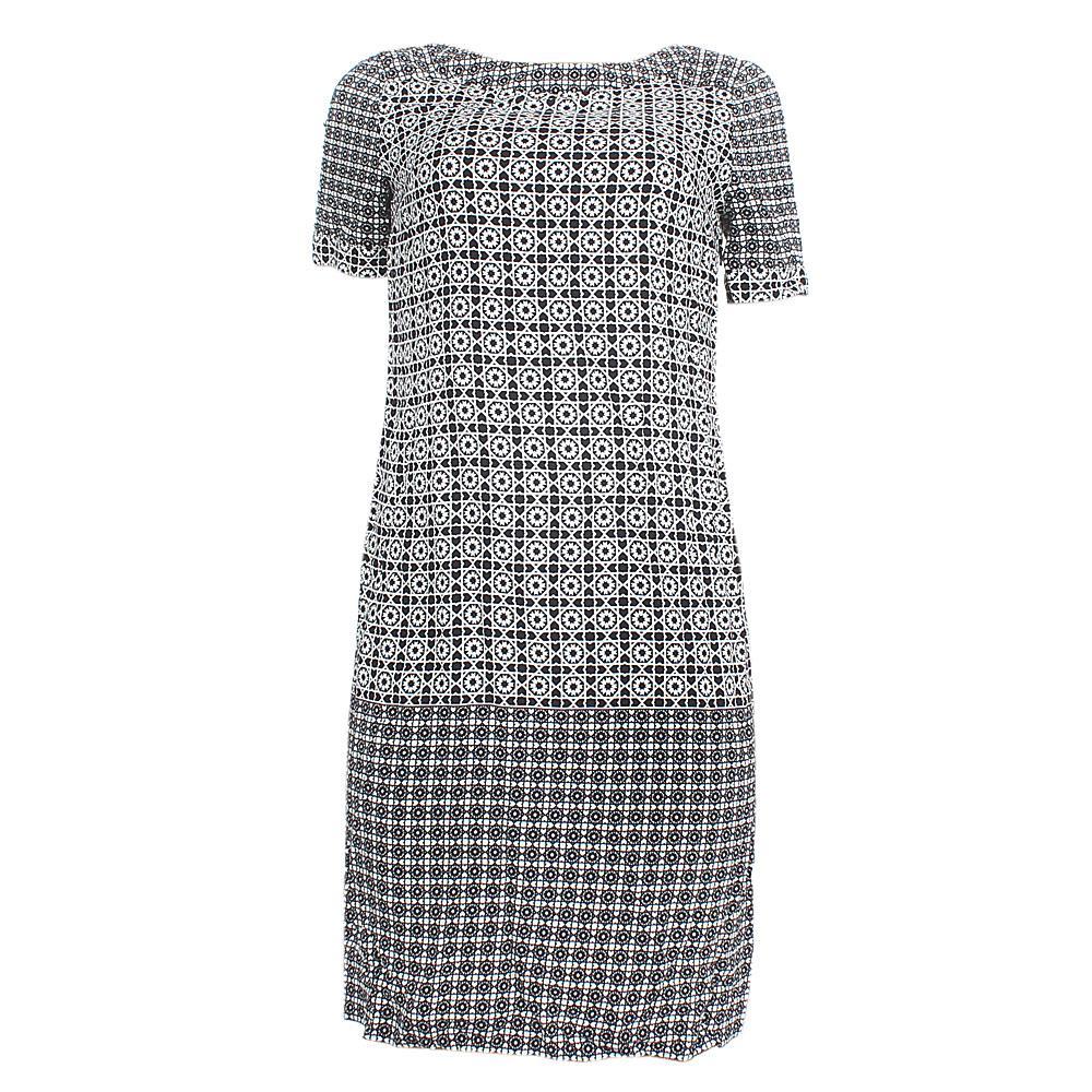M  &  S Monochrome S-Sleeve Cotton Dress Sz-Uk 8